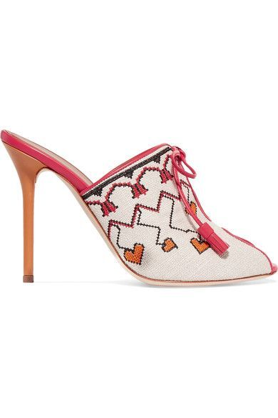 Malone Souliers - Natalia Vodianova Woven Linen And Leather Mules - Off-white - IT35