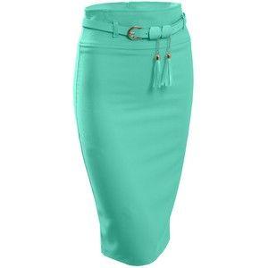 LE3NO cabida para mujer de cintura alta falda de Midi con el falso cinturón de cuero