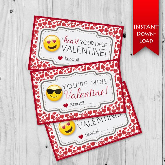 Emoji Valentine's Day Printable cards.