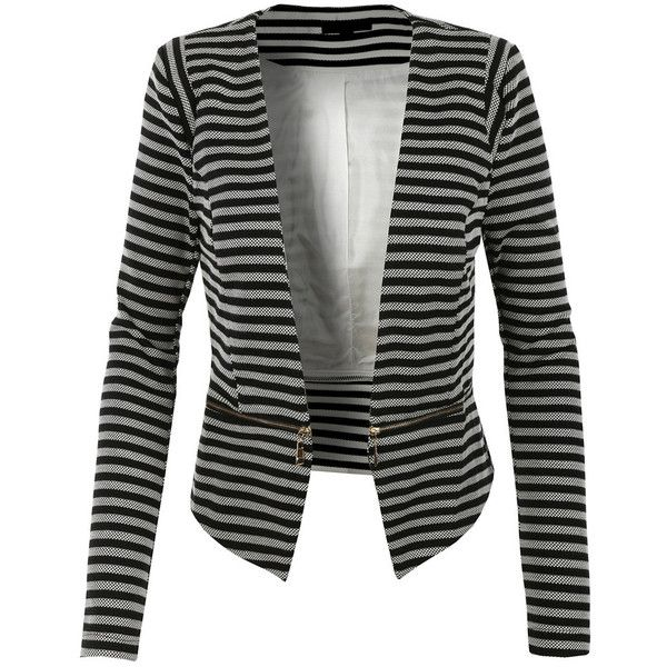 LE3NO Womens Slim Fit Striped Blazer Jacket with Detachable Hem ($38) ❤ liked on Polyvore featuring outerwear, jackets, black cropped jacket, lined jacket, open front jacket, striped jacket and black slim jacket