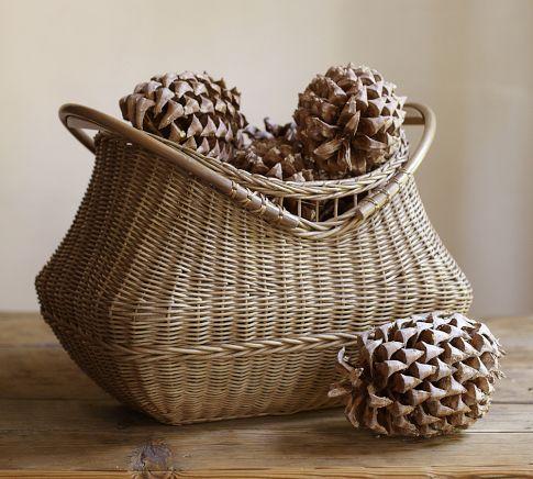 Jacquelyne Wood Handled Basket   Pottery Barn