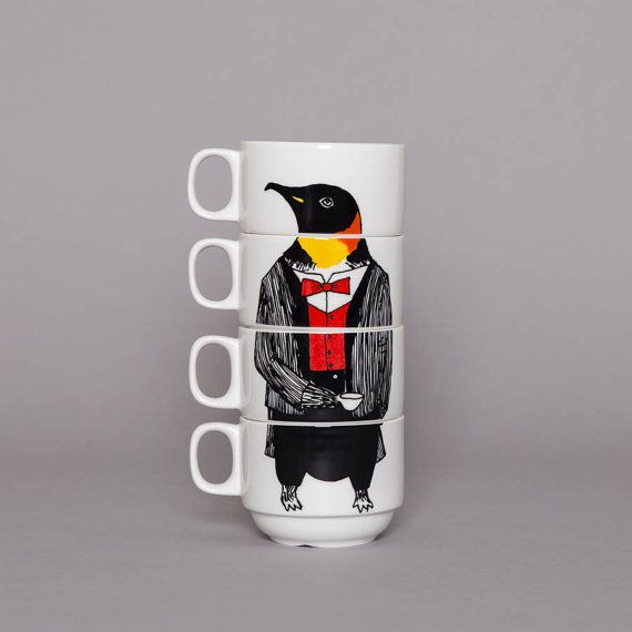 Set of 4 Coffee cups  Mr Penguin by jimbobart on Etsy