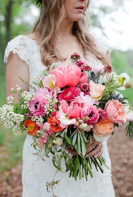 Peonies, Ranunculuses, Poppies, Garden Roses, Scabiosas, Sweet Peas, Spirea, Thistles, Olive Leaf, Jasmine Vines, and Chamomile, #WeddingFlowers #WeddingBouquet