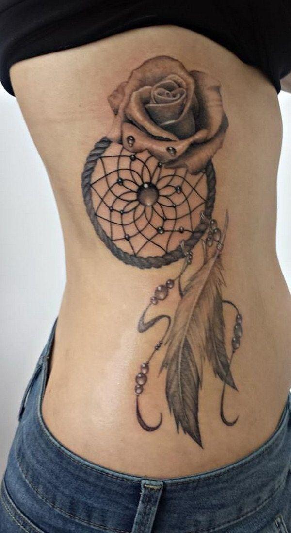 Rose Dreamcatcher Tattoo Idea.