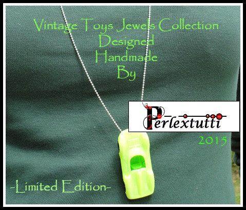 HANDMADE Vintage Toy Necklace  Acid Green Ferrari by Perlextutti
