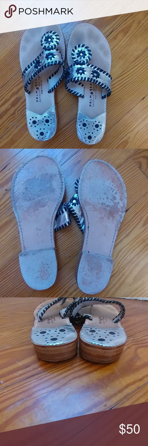 Palm Beach sandals Jack Rogers Style sandals. Silver and black. Good condition! Size 8 palm beach Shoes