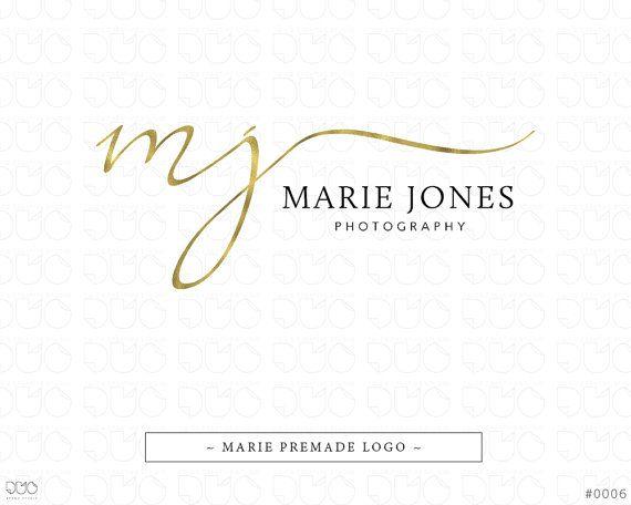 Premade Logo, Handwritten Logo, Predesigned Logo, Photography Logo, Calligraphy Logo, Gold Logo, Feminine Logo, Watermark - #0006
