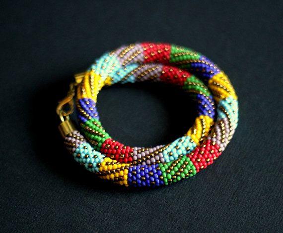 Multicolor Patchwork Necklace Bead Crochet by HeriniaJewelry