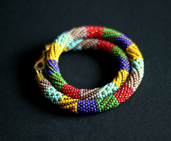Multicolor Patchwork Necklace Bead Crochet by HeriniaJewelry