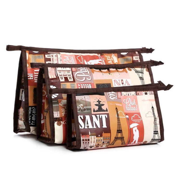 3pcs/set Floral Painting Canvas Cosmetic Bags Multi-Color Makeup Bag Zip Case Colorful Painted Geometric Multifunction Free P460