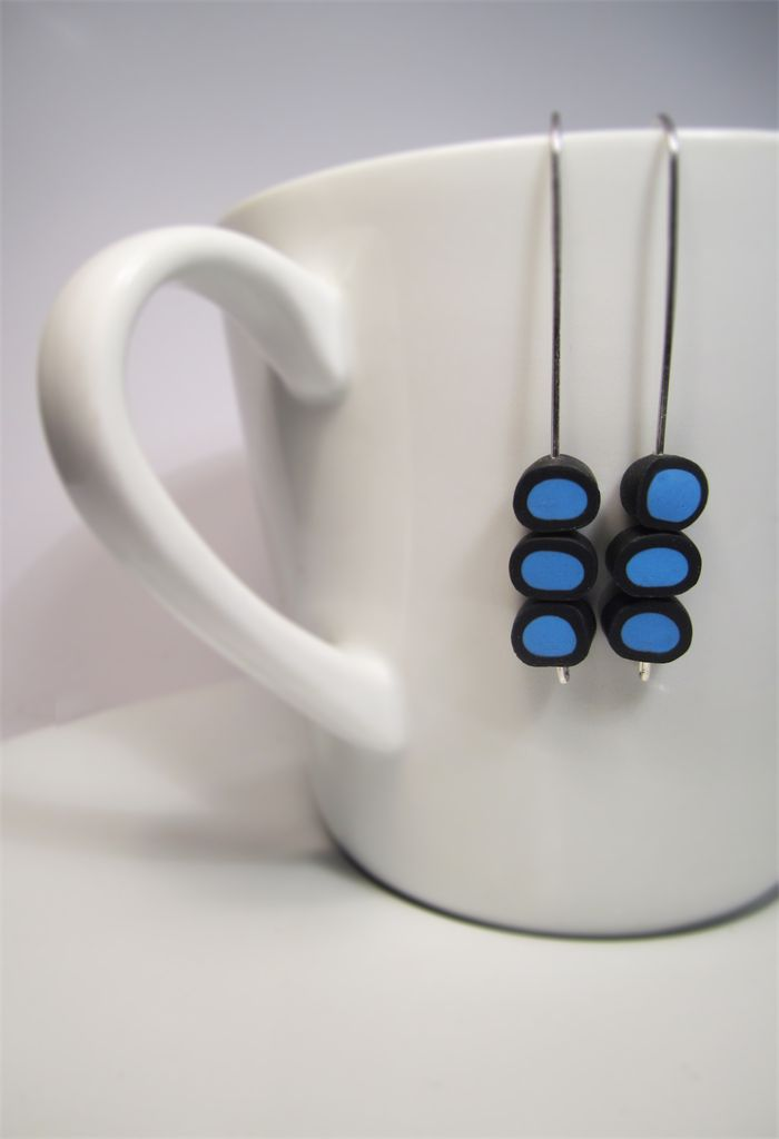 """Maker's Lab Blue """"Licorice AllSorts"""" Earrings $18.00 includes delivery."""