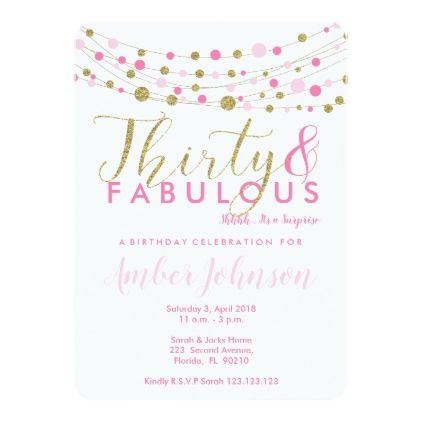 30th Birthday Party Invitation Pink And Gold Card