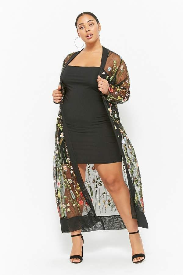 46356bd2a4d Forever 21 Plus Size Sheer Embroidered Duster Kimono  ad