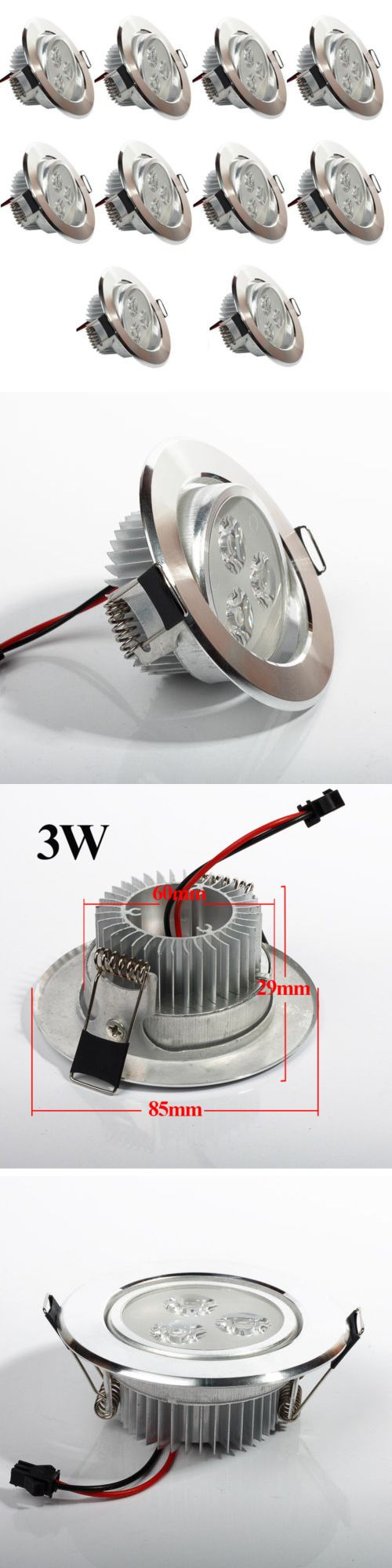 Lamps And Lighting: 10Pcs 3W Led Recessed Ceiling Light Downlight Lamp Led Recessed Lighting Fixture BUY IT NOW ONLY: $44.88