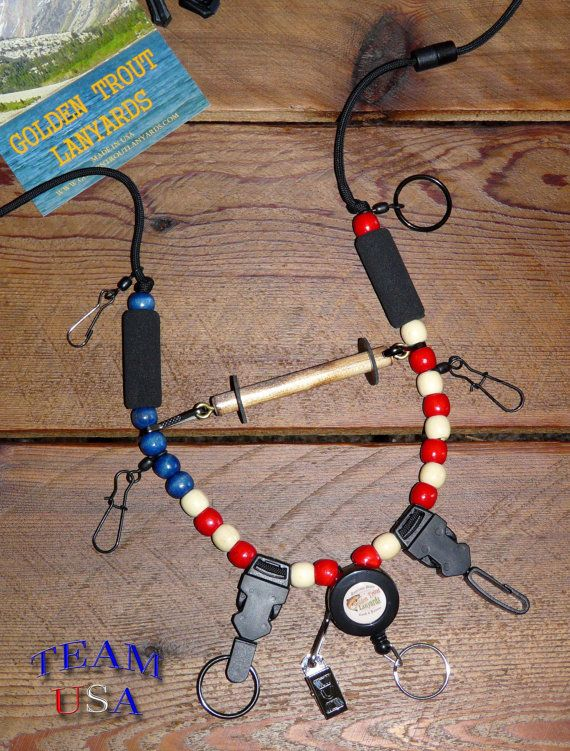Fly Fishing Lanyard Stars and Stripes by by GoldenTroutLanyards, $31.95