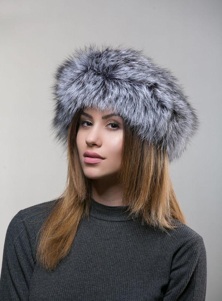 Silver Fox Fur Head Band     #silverfox #fur #headband #realfur #sagafur #gena #winter #hat #haute fashion #style