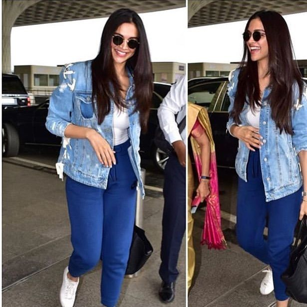 Deepika Padukone Nailed Her Latest Airport Look With A Ripped Denim Jacket Cool Track Pants Million Dollar Smile And A Lot Of Swag Hungryboo Casual Day Outfits Jacket