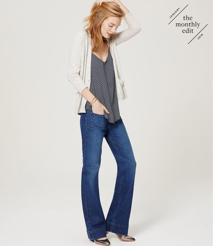 Wide Leg Trouser Jeans in Mid Indigo Wash | LOFT