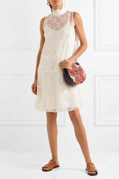 See by Chloé | Tiered plissé-lace mini dress | NET-A-PORTER.COM