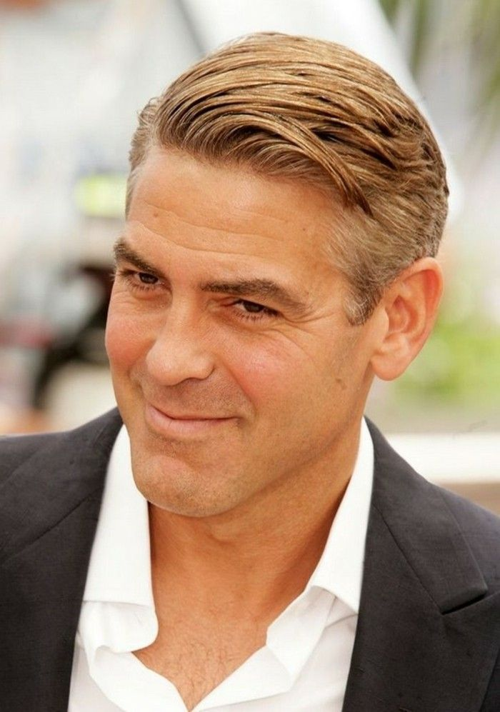 Classic Combover Hairstyle Worn By George Clooney Short Haircuts For Men Ches Mens Hairstyles Short Mens Hairstyles Medium Long Hair Styles Men