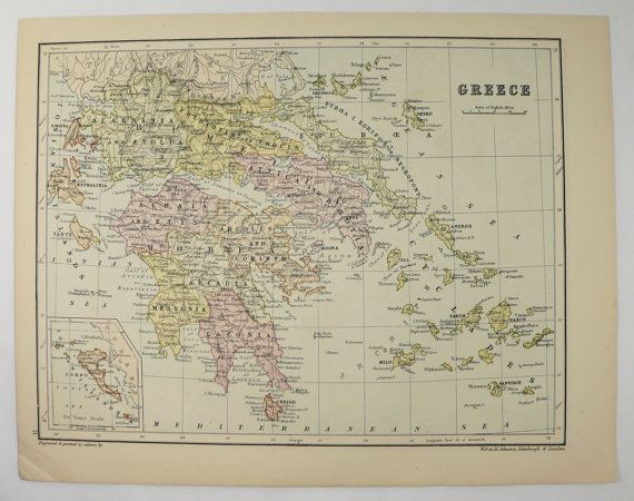 Antique Greece Map, Russia 1875 Johnston Map of Greece, Vintage Russia Map, Greek Islands Map Cyclades, Greece Gift for Traveler available from OldMapsandPrints.Etsy.com #Greece #Russia #OriginalVintageMap