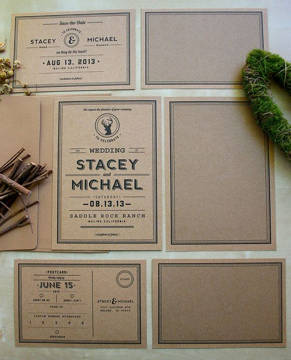 Rustic Kraft Paper Wedding Invitation Suite - Woodland Theme - Eco Friendly on Etsy, $5.84 CAD