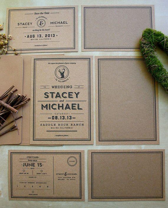 Rustic Kraft Paper Wedding Invitation Suite - Woodland Theme - Eco Friendly on Etsy, $5.84 CAD