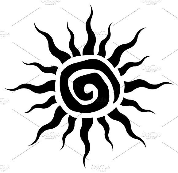 3d194160efd85 Black Abstract Sun Simple Design by HitToon on @creativemarket ...