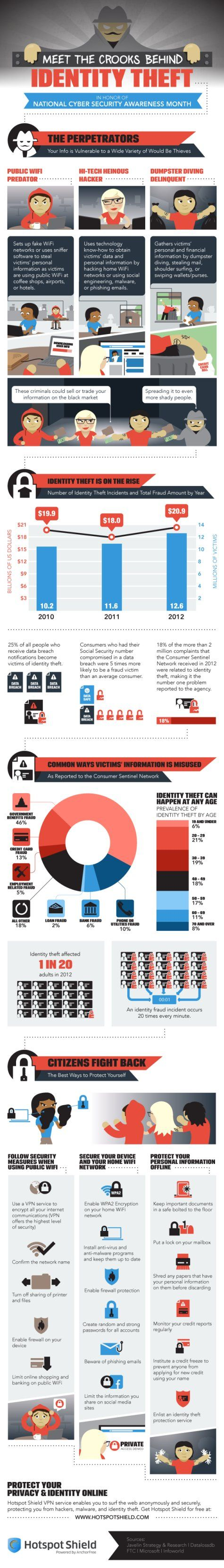 AnchorSecurity Infographic on Identity Theft. #IdentityTheft #Infographic