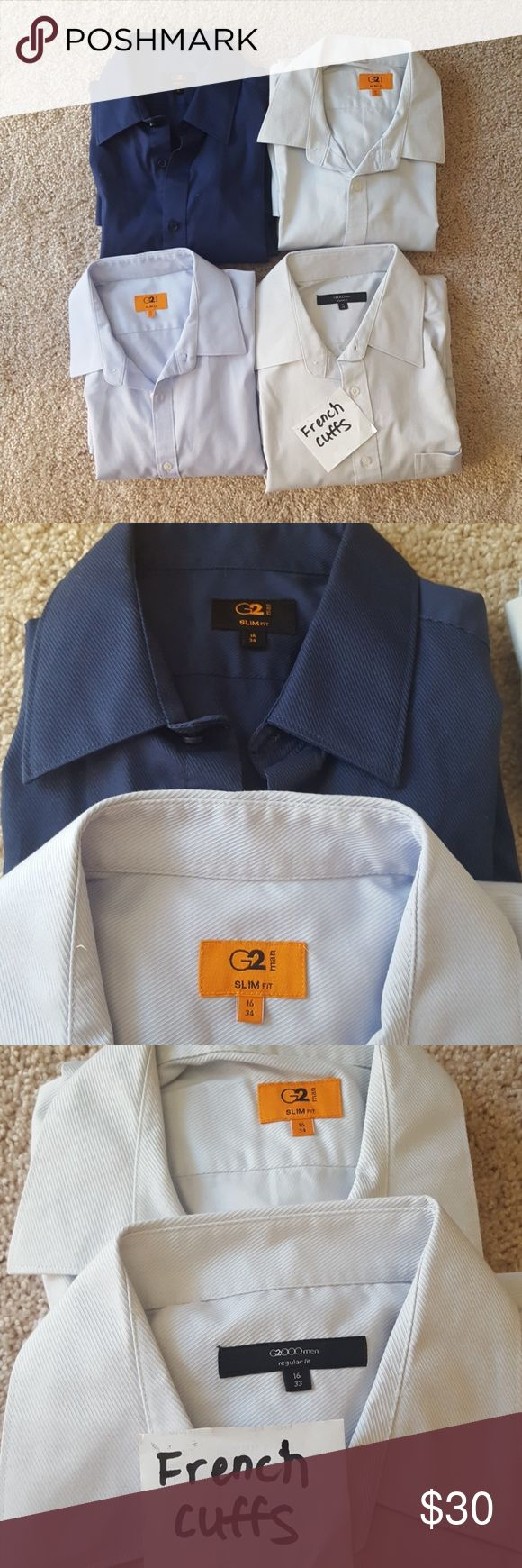Bundle of 4 G2000/G2 Men's Dress Shirts Good condition! Navy blue shirt has never actually been worn, the others have. All are diagonal stripe textured, size 16 33 and 34. G2000 Shirts Dress Shirts