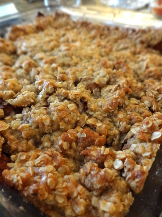 Mom's Apple Crisp With Crunchy Oat Topping. An easy and delicious dessert anytime of the year, this recipe has truly stood the test of time, having been passed down through generations