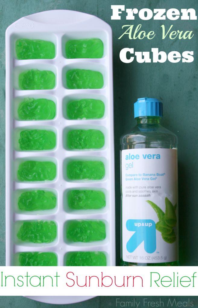 Frozen Aloe Vera Cubes - best sunburn treatment - FamilyFreshMeals.com