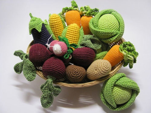 Knitting Patterns For Vegetables And Fruit : Crocheted basket with vegetables, handmade table decorations Crocheted - Fo...
