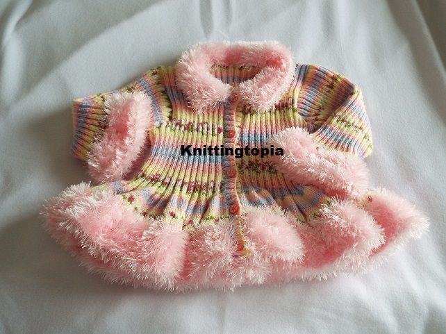 Hand knitted girls pink multi coloured cardigan age 10 years 30 inch chest £35.00