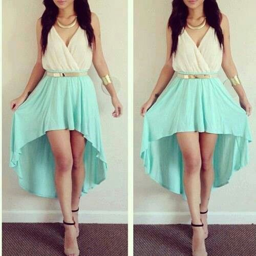 White & mint high-low dress. Lovely.