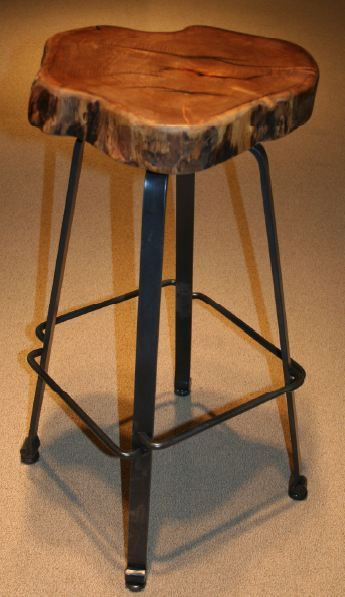 Hand Forged Metal Is Shaped And Hammered Into A Solid Bar Stool Base An Organic Natural Mesquite Slab Used For The Se
