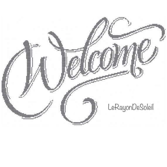 Cross stitch pattern welcome text home frame di LeRayonDeSoleil