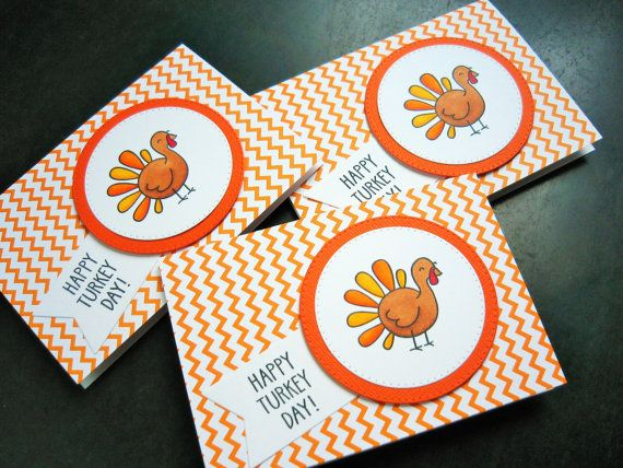 Thanksgiving Cards Set of 3 Happy Turkey Day by apaperaffaire