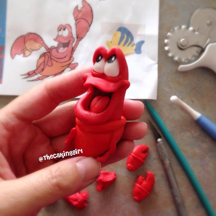 Making Sebastian from The Little Mermaid, edible gumpaste figurine cake topper. www.thecakinggirl.ca