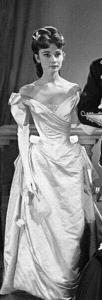 "Audrey looking stunning in TV movie ""Mayerling"", 1957. Love seeing her in period dress!"