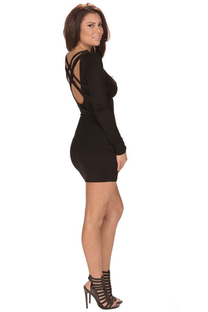 LBD Criss Cross Cutout Back Dress #bodycon #partydress #minidress