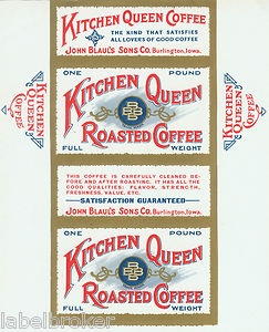 Tin Can Label Vintage Coffee Kitchen Queen