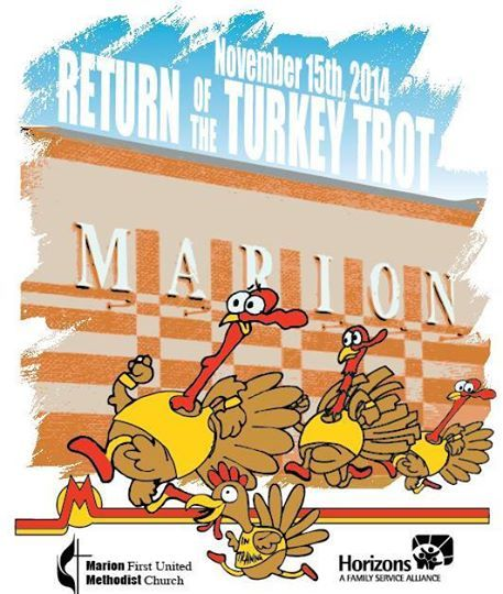 The Turkey Trot 8k run and 4k fun run/walk will be held on November 15th @ 9AM at Marion High School.
