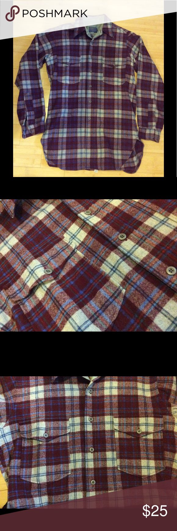 Men's 100% wool Pendleton shirt, size medium LONG Men's long sleeve 100% wool shirt, size medium LONG. Burgundy and cream plaid with blue accents, truest colors in second photo. Neck is lined with smooth poly-type material to prevent itching. There is a bit of discoloration to this lining. Perfect condition otherwise..Two patch pockets on the front with button flaps. Dry clean only. Pendleton Shirts Casual Button Down Shirts