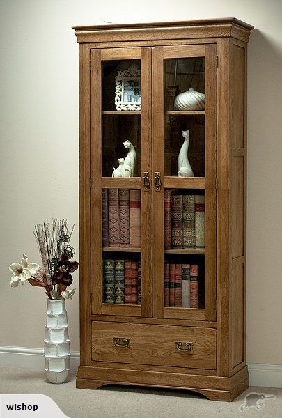 FRENCH RUSTIC SOLID OAK DISPLAY CABINET | Trade Me