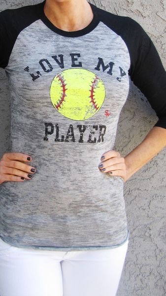 Love My Player SOFTBALL - Sideline Chic. Available in tank or raglan. Great for softball moms and softball fans! Customize back with player name/number.