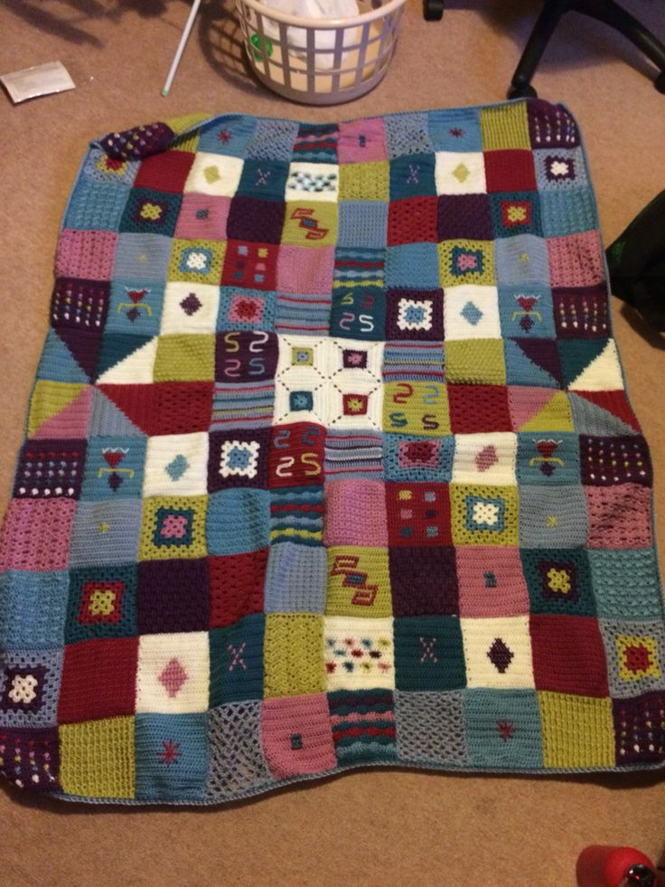 Crochet patchwork blanket, pattern from The Art of Crochet magazine series