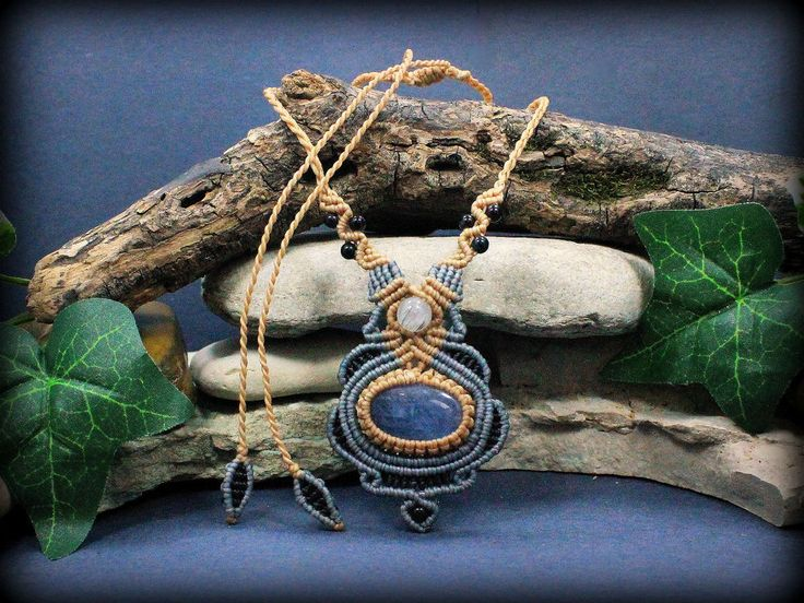 Fluorite Energy Balancing necklace - handcrafted grey blue tan macrame necklace