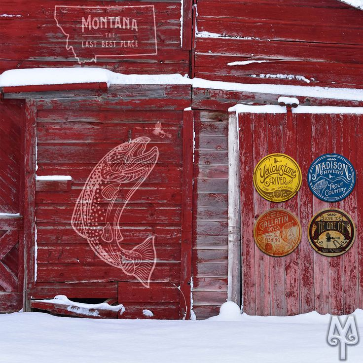 Vintage Fly Fishing Wall Signs by Montana Treasures adorn a rustic barn in Bozeman, Montana. Even in the dead of Winter, fly fishing is on the mind of many Montanans. Decorate your own home or cabin with Montana Treasures' Vintage Fly Fishing and National Parks wall signs. Shop today! :)