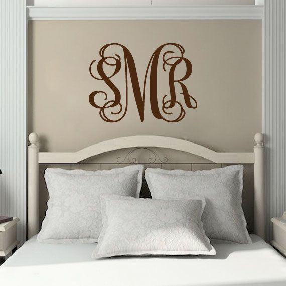 Personalized Initial Monogram Vinyl Wall Decal Master Bedroom - Monogram vinyl wall decals for girls